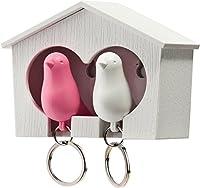 Schlüsselhäußchen Duo Sparrow Key Ring 2 Schlüsselanhänger mit Vogelmotiv Schlüsselanhänger mit Pfeife 3 M Klebestreifen inklusive kann auch geschraubt werden 4,5x6,8x7,3 Qualy