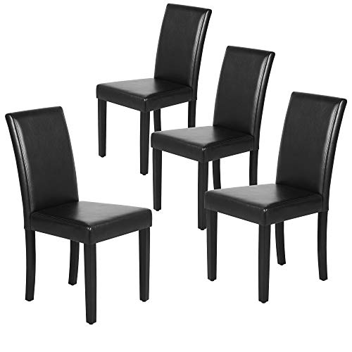 Yaheetech Dining Chair Dining/Living Room PU Cushion Diner Chair High Back Padded Kitchen Chairs with Solid Wood Legs Set of 4, Black