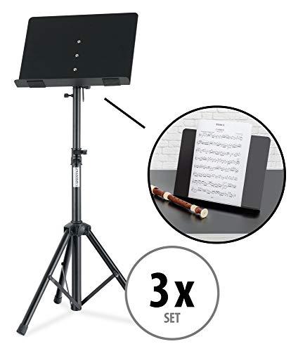 Set van 3 Classic Cantabile OST-350 2-in-1 muziekstandaard, te gebruiken als muziekstandaard en als tafelblad of boekenstandaard, orkeststandaard met gesloten muziekstandaard, leesstandaard van metaal, zwart