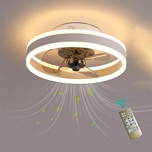 YAOXI Dormitorio Led Ventilador de Techo Pequeño con Luz y Mando Silencioso Reversible 6 Velocidades Moderno Ventilador con Luz de Techo con Temporizador Regulable,Blanco