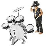Juego de batería de jazz para niños, juego de batería para niños Instrumento musical educativo para estimular la creatividad de los niños, durante 1-6 años Niños, adolescentes, niños y niñas(negro)