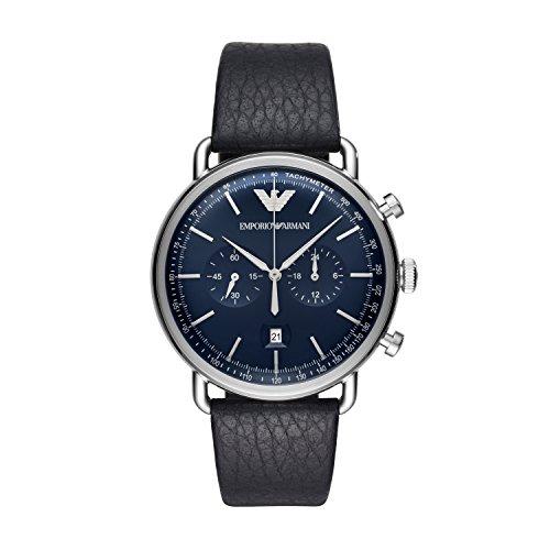 Emporio Armani Herren Chronograph Quarz Uhr mit Leder Armband AR11105