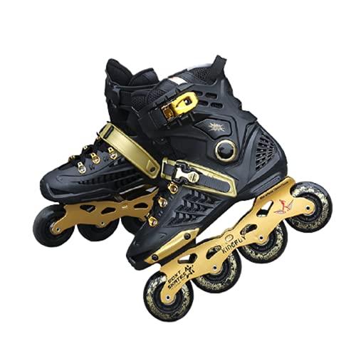 Rollschuhe Roller Skates Erwachsene Inline-Skates Männer und Frauen College-Studenten einreihige,Black Gold,38