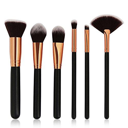99L'amour Accessorize Pinceaux de Maquillage Set de 6 Pièces Premium Coloré Fondation Mélange Blush Yeux Visage Poudre Brosse Cosmétiques (Noir)