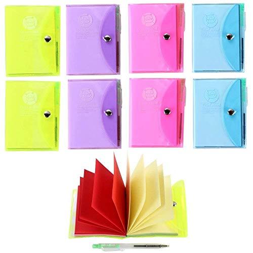 Shulaner Notizbuch blanko mit stift, klein, zum Abreißen, antihaftbeschichtet, blanko bunte seiten, notizblock mit kugelschreiber, 10 x 7 cm, 8 Stück