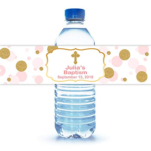 """100 Personalized Baptism Water Bottle Labels 8""""X2"""""""