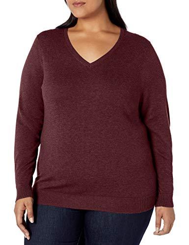 Amazon Essentials Plus Size Lightweight V-Neck Sweater pullover-sweaters, burgunderfarben, 1X