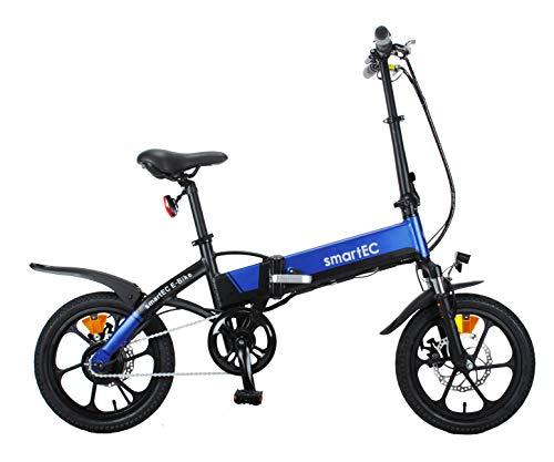 smartEC Camp-Mini Klapprad Mini E-Bike, 16 Zoll, Hinterrad-Nabenmotor, Fahrunterstützung 25 km/h, Samsung Li-Ion-Akku 36V/250 Watt, Anfahrhilfe, Reichweite 60 km (Blau)