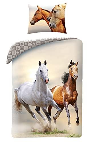 Pferde Horse Riding - Juego de cama (funda nórdica de 140 x 200 cm, 100% algodón)
