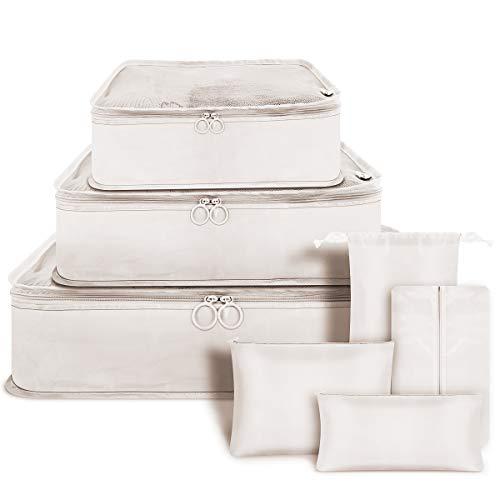 Bolsa Organizadora de Embalaje 7 Piezas Bolsa de Almacenamiento de Ropa Conjunto de Cubos de Embalaje Ligeros para Viajes