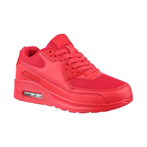Elara Zapatillas de Deporte Unisex Zapatos para Correr Chunkyrayan H001-Z001 Red-36
