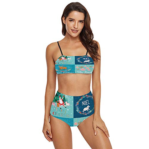 Women's Printing 2 Piece Bikini Sets Swimsuits -Christmas Cards in SW03375 XL