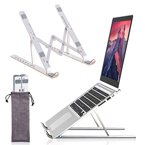YWEN Laptop Stand, Portable Foldable Laptops Stands, Ergonomic Adjustable Notebook Holder, Aluminum Ventilated Cooling Stand, for MacBook Pro Air, iPad, Lenovo, Dell, More 10'-15.6' Laptops