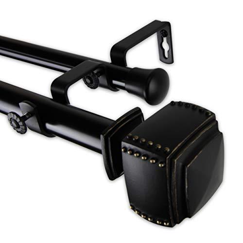 """Rod Desyne 100-27-1602-D 1"""" Bennett Double Curtain Rod, 160-240 inch, Black"""