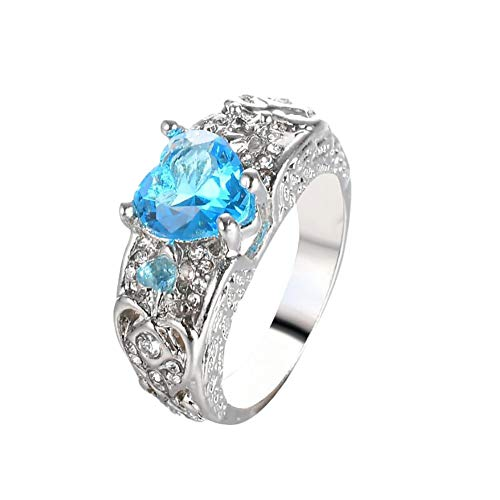 Lubier Anillo de aleación azul cielo corazón diamante princesa anillo de boda para las mujeres y las niñas 57mm azul celeste