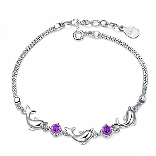 LYsng Pulsera Mujer Plata Pulseras de Plata Mujer Pulsera de Diamantes Pulseras de Tobillo para Mujer Suerte Fortuna Pulsera Pulsera del Día de la Madre Purple