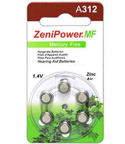 Zenipower Zinc-Air Hearing Aid Battery Size 312 (60 Batteries)