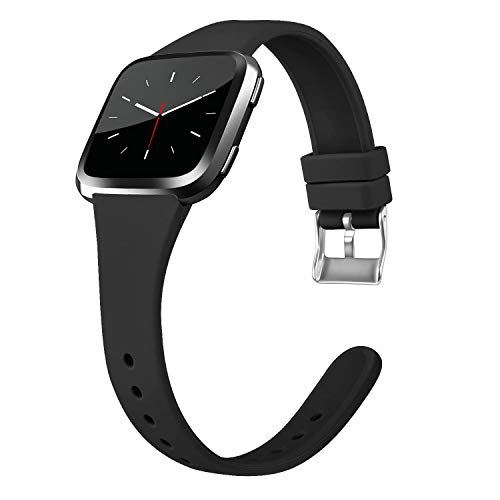 Tobfit Silicone Slim Band Compatible for Fitbit Versa/Lite/SE, Narrow & Thin Sport Wristband with Metal Buckle for Women/Men, Black, Small