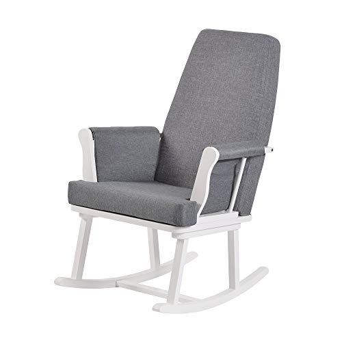 Kub® Haldon Chaise d'allaitement à bascule (blanc et gris) – Coussins rembourrés avec poche de rangement, mouvement à bascule lisse, facile à assembler, base en bois massif (blanc)