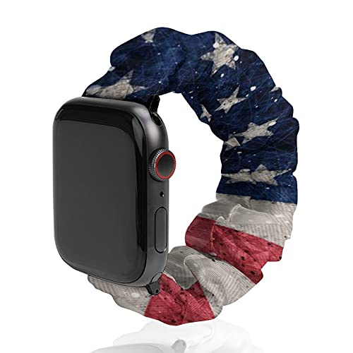 Vintage American Flag Apple Watch Band Scrunchies 38mm 40mm 44mm 42mm Compatible with iWatch Series 6 5 4 3 2 1 Replacement Elastic Scrunchy Bands Women Bracelet