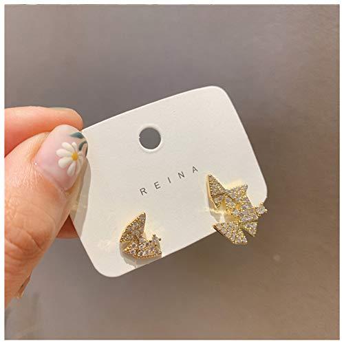 FGFDHJ Bonitos Pendientes de botón de Mariposa de Color Dorado con Diamantes de imitación para Mujer, Pendientes de Regalo
