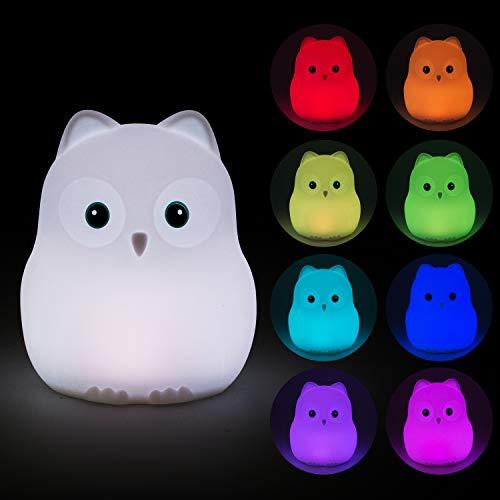 Luz Nocturna Infantil Tekemai, Lámpara de Noche, Lámpara Quitamiedos para Niños/Bebé , Resistente a Rotura, LED Cuidado Ojos, Brillo y Color Ajustable, Control Táctil, Recargable - Polluelo