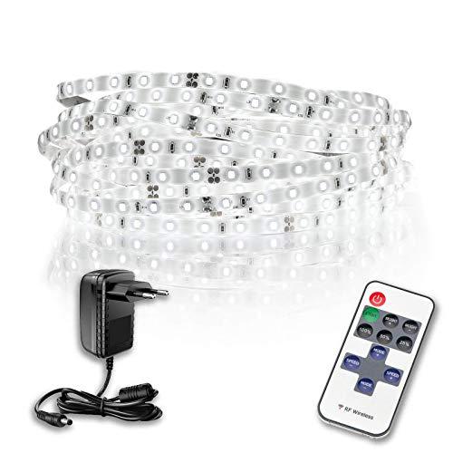 KIT LED Strip 10 Metri 24W - Luce Bianca Naturale 4000K + telecomando multifunzione + alimentatore certificato TUV-GS - Adesivo 3M 9080A