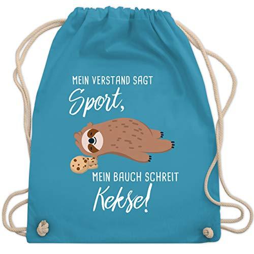 Shirtracer Statement - Mein Bauch schreit Kekse! Faultier - Unisize - Hellblau - turnbeutel mit sprüchen lustig - WM110 - Turnbeutel und Stoffbeutel aus Baumwolle