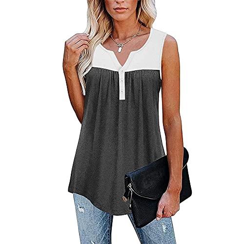 Camiseta de tirantes para mujer, informal, cuello en V, patchwork, túnica, para verano, sin mangas, con botones, holgada, holgada, holgada, holgada Negro S