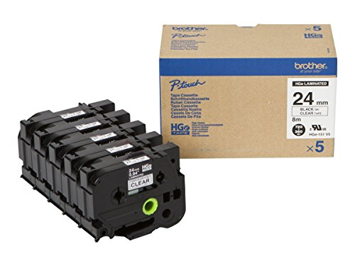 BROTHER HG151V5 5x Schriftbandkassette 24mmx8m farblos schwarz laminiert fuer P-touch P500PC 9700PC 9800PCN RL700S