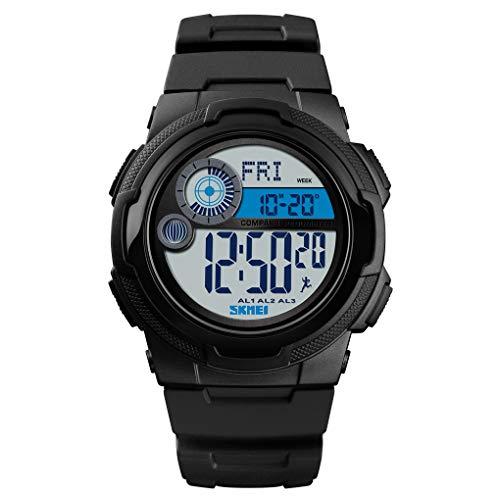 GLxlsbz Digitale Sportuhr Damen,Militärische Outdoor Uhr für Männer wasserdichte LED wasserdicht Uhren elektronische Gegenlicht 50M wasserdicht Stoppuhr Alarm, Black