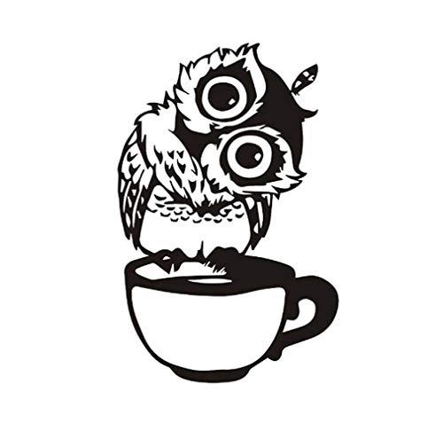 Wandaufkleber - Süße Eulen Auf Der Tasse Tee Kaffee Wandaufkleber Tiere Aufkleber Für Kinderzimmer Wandtattoos Für Babyzimmer Dekor