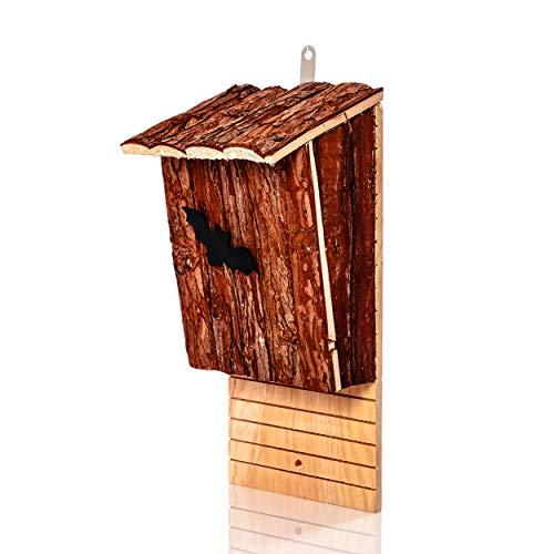 Skojig© Fledermauskasten aus Naturholz als Schlafplatz für Fledermäuse - Fledermaushöhle | Fledermaushaus für den Garten - fertig montiert & zum aufhängen : Fledermaushotel Nistkasten