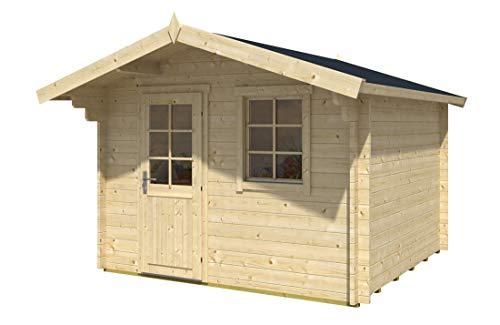 Alpholz Blockhaus CLARA-40 ISO - Gartenhaus mit Satteldach - Garten Holzhaus mit Boden & Fenster aus Isoglas - Blockbohlenhaus ohne Imprägnierung