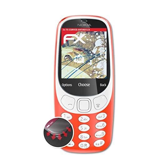 atFolix Schutzfolie kompatibel mit Nokia 3310 2017 Folie, entspiegelnde & Flexible FX Bildschirmschutzfolie (3X)
