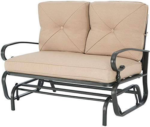 Patiomore Outdoor Loveseat Patio Swing Glider Bench 2 Seats Rocking Chair, Wrought Iron Chair Set with Brown Cushion