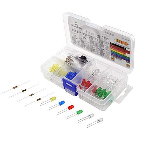 QUADRIOS GmbH LED superhell 5 mm Leuchtdioden Sortiment Set mit Vorwiderständen und Dokumentation 130 Teile Sortimentskasten Rot/Grün/Gelb/Blau/Warmweiß/Kaltweiß und Widerstände 220/470/680/1000 Ohm