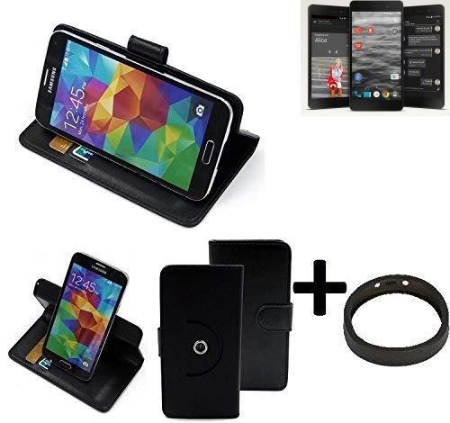 K-S-Trade Top Set: 360° Funda Smartphone para Silent Circle Blackphone 2, Negro + Anillo Protector | Función De Stand Caso Monedero BookStyle Mejor Precio, Mejor Funcionamiento
