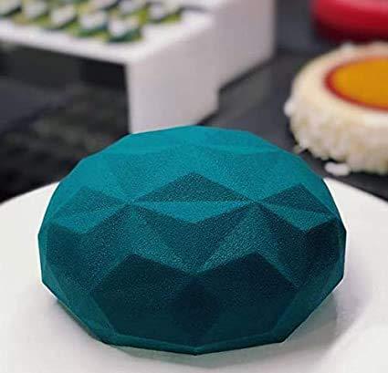 Amira Silikon Form 3D-Backform Diamant mit Deutsche Markenqualität.Weisse Silikon Backform.Diamond Round Silikon Mousse Kuchenform.backformen.Silikon-Rückform.Stollenbackform.silikonbackformen