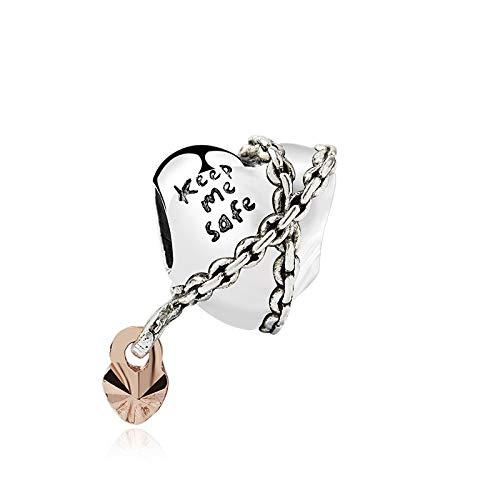 LIIHVYI Se Adapta A Pandora Original 925 Cuentas De Plata Esterlina Aleación Rose Keep Me Safe Chained Heart Brazalete Collar DIY Mujeres Joyería Pulsera Charm Gift