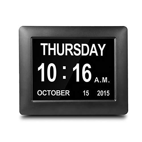 CNMF Digitale wekker, kalender en grote letters, elektronische kalender, dagklok, digitale klok, kalender voor senioren en dementiezieken, met herinneringsfunctie (5 alarmen en 3 medicijnen) zwart