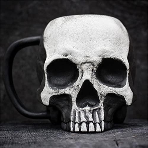 Skull Cup-Tazas/Taza De Café Macabras,Taza De Resina 3d Con Cabeza De Calavera Con Asa,Taza De Café De La Novedad Del CráNeo De Resina,Coleccionables De DecoracióN GóTica Para El Hogar (Blanco)