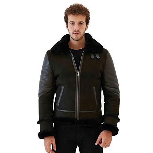 2019 New Mens B3 Shearling Jacket Turkey Fur Coat Motorcycle Jacket Aviator Leather Jacket (Dark Green&Black, Custom)
