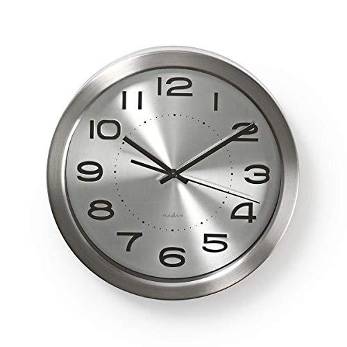 Nedis Reloj de Pared Reloj de Pared | Diámetro: 300 mm | Acero Inoxidable | Acero Inoxidable Plata