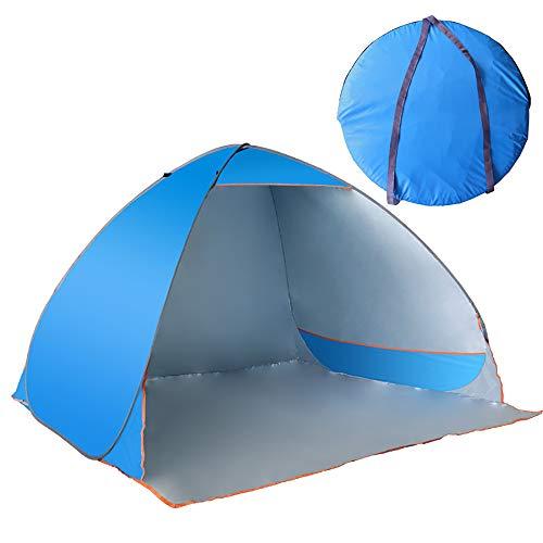 LEJZH Strand Tent, Automatische Pop Up Beach Paraplu Zonwering Canopy Cabana, Waterdichte Winddichte UV Lichtgewicht en gemakkelijk te dragen Zonwering 4 Persoon