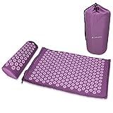 Navaris Set de masaje de acupresión - Esterilla relajante de acupuntura lavable de 68 x 42 x 2 CM con almohada y funda de transporte - Morado y rosa