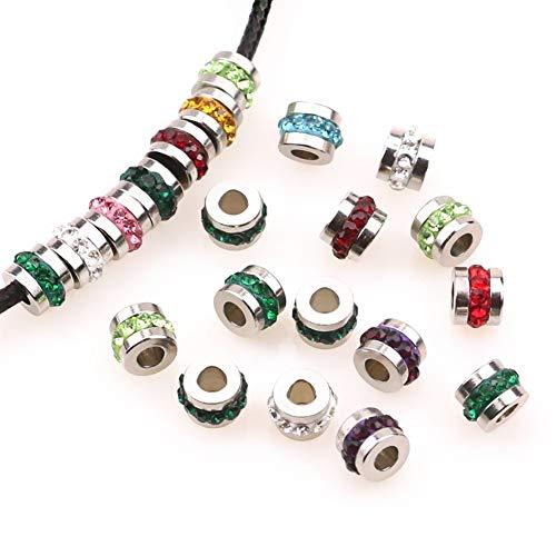 ZRDY 10pcs / Lot 6m M Granos del Encanto del Acero Inoxidable del Grano De Circón De Bricolaje 3 Mm Agujero De Los Granos For La Joyería Que Hace Accesorios Bead (Color : Dark Green)