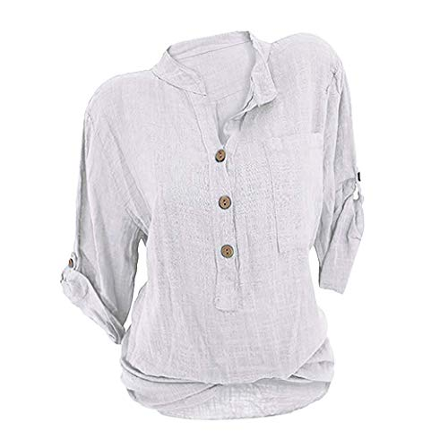 Damen Leinen Langarmshirt Freizeit Bluse V-Ausschnitt Button-Down Locker Hemd Shirt Weiß 38