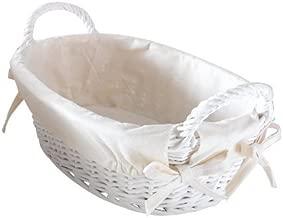 Star Cesto Cestino portapane Bianco con Manici in Vimini Stile Shabby Chic con Tessuto Removibile Ovale