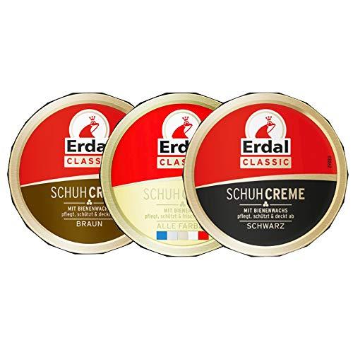 Erdal Schuhcreme Classic Schwarz, Alle Farben, Braun (75 ml) Vorteilspack